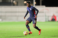 WIENER NEUSTADT, AUSTRIA - NOVEMBER 16: Yunus Musah #18 of the United States takes a runs with the ball during a game between Panama and USMNT at Stadion Wiener Neustadt on November 16, 2020 in Wiener Neustadt, Austria.