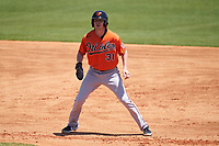 Baltimore Orioles Mason Janvrin (31) leads off first base during a Minor League Spring Training game against the Detroit Tigers on April 14, 2021 at TigerTown in Lakeland, Florida.  (Mike Janes/Four Seam Images)
