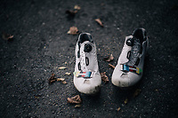 rainbow shoes for Wout Van Aert (BEL/Crélan-Charles)<br />  as elite CX World Champion at Bieles (2017) and Zolder (2016) <br /> <br /> Super Prestige Ruddervoorde / Belgium 2017