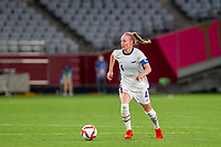 TOKYO, JAPAN - JULY 21: Becky Sauerbrunn #4 of the United States looking to pass the ball during a game between Sweden and USWNT at Tokyo Stadium on July 21, 2021 in Tokyo, Japan.