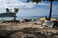 The destroyed resort of Taufua Beach Fales. More than 170 people died when a tsunami triggered by an 8.3 magnitude earthquake hit Samoa and neighbouring Pacific islands on 29/09/2009. Samoa (formerly known as Western Samoa)..