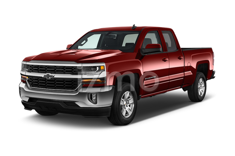 2016 Chevrolet Silverado-1500 LT-Double-Cab-Std-Box 4 Door Pick-up Angular Front stock photos of front three quarter view