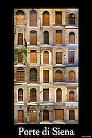 20x30 or 24x36 inch poster highlighting the variety of Tuscan doors in Siena, Italy.