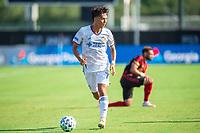 LAKE BUENA VISTA, FL - JULY 16: Yuya Kubo #7 of FC Cincinnati dribbles the ball during a game between FC Cincinnati and Atlanta United FC at Wide World of Sports on July 16, 2020 in Lake Buena Vista, Florida.