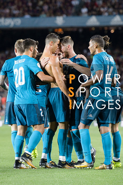 Cristiano Ronaldo of Real Madrid (C) celebrating his score with his teammates during the Supercopa de Espana Final 1st Leg match between FC Barcelona and Real Madrid at Camp Nou on August 13, 2017 in Barcelona, Spain. Photo by Marcio Rodrigo Machado / Power Sport Images