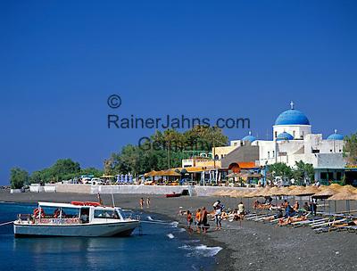 Greece; Cyclades; Santorini;  Perissa with black sandy Beach