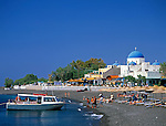 Greece; Cyclades; Santorini;  Perissa with black sandy Beach