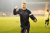 James Barrigan, Marine AFC celebrates Marine's giant killing victory during Colchester United vs Marine, Emirates FA Cup Football at the JobServe Community Stadium on 7th November 2020