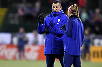 COLUMBUS, OH - NOVEMBER 07: USWNT coach Vlatko Andonovski chats with Becky Sauerbrunn #4 of the United States during a game between Sweden and USWNT at MAPFRE Stadium on November 07, 2019 in Columbus, Ohio.