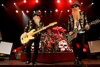 MADRID, SPAIN - JULY 14: Dusty Hill (L) and Billy Gibbons (R) of ZZ Top perform on stage at La Riviera on July 14, 2011 in Madrid, Spain. (Photo by Juan Naharro Gimenez)