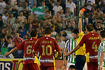 The referee Pedro Sureda shows the second red card  during the match between Real Betis and Recreativo de Huelva day 10 of the spanish Adelante League 2014-2015 014-2015 played at the Benito Villamarin stadium of Seville. (PHOTO: CARLOS BOUZA / BOUZA PRESS / ALTER PHOTOS)