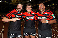 20121020 Copyright onEdition 2012©.Free for editorial use image, please credit: onEdition..(L-R) Carlos Nieto, Schalk Brits and Mako Vunipola of Saracens enjoy the win after the Heineken Cup Round 2 match between Saracens and Racing Metro 92 at the King Baudouin Stadium, Brussels on Saturday 20th October 2012 (Photo by Rob Munro)..For press contacts contact: Sam Feasey at brandRapport on M: +44 (0)7717 757114 E: SFeasey@brand-rapport.com..If you require a higher resolution image or you have any other onEdition photographic enquiries, please contact onEdition on 0845 900 2 900 or email info@onEdition.com.This image is copyright the onEdition 2012©..This image has been supplied by onEdition and must be credited onEdition. The author is asserting his full Moral rights in relation to the publication of this image. Rights for onward transmission of any image or file is not granted or implied. Changing or deleting Copyright information is illegal as specified in the Copyright, Design and Patents Act 1988. If you are in any way unsure of your right to publish this image please contact onEdition on 0845 900 2 900 or email info@onEdition.com