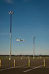 Airplane landing at Sacramento airport.