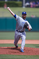Zac Rosscup (16) of the Iowa Cubs pitches during a game against the Oklahoma City Dodgers at Chickasaw Bricktown Ballpark on April 9, 2016 in Oklahoma City, Oklahoma.  Oklahoma City defeated Iowa 12-1 (William Purnell/Four Seam Images)
