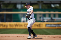 Scranton/Wilkes-Barre RailRiders second baseman Kyle Holder (8) on defense against the Rochester Red Wings at PNC Field on July 25, 2021 in Moosic, Pennsylvania. (Brian Westerholt/Four Seam Images)