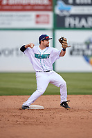 Lynchburg Hillcats second baseman Dillon Persinger (38) throws to first base during the first game of a doubleheader against the Potomac Nationals on June 9, 2018 at Calvin Falwell Field in Lynchburg, Virginia.  Lynchburg defeated Potomac 5-3.  (Mike Janes/Four Seam Images)