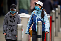 Pictured: Two young ladies walk down Oxford Street, Swansea city centre, Wales, UK. Monday 28 September 2020<br /> Re: Local lockdown will be in force from 6pm on the 27th September 2020 due to the Covid-19 Coronavirus pandemic, in Swansea, Wales, UK.