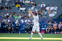 CARSON, CA - JUNE 19: Sacha Kljestan #16 of the Los Angeles Galaxy celebrates his PK goal during a game between Seattle Sounders FC and Los Angeles Galaxy at Dignity Health Sports Park on June 19, 2021 in Carson, California.