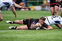 Chris Hankinson (on loan from Wigan) of London Broncos scores his try during the Betfred Championship match between London Broncos and Newcastle Thunder at The Rock, Rosslyn Park, London, England on 9 May 2021. Photo by Liam McAvoy.