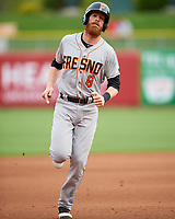 Colin Moran (8) of the Fresno Grizzlies during the game against the Salt Lake Bees in Pacific Coast League action at Smith's Ballpark on April 17, 2017 in Salt Lake City, Utah. The Bees defeated the Grizzlies 6-2. (Stephen Smith/Four Seam Images)