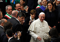 Papa Francesco incontra i dipendenti delle acciaierie di Terni in Aula Paolo VI, Citta' del Vaticano, 20 marzo 2014.<br /> Pope Francis meets Terni steel factory workers in the Paul VI hall at the Vatican, 20 March 2014.<br /> UPDATE IMAGES PRESS/Riccardo De Luca<br /> <br /> STRICTLY ONLY FOR EDITORIAL USE
