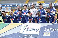 BOGOTA - COLOMBIA, 20-06-2021: Jugadores del Millonarios posan para una foto previo al partido por la final vuelta entre Millonarios F.C. y Deportes Tolima como parte de la Liga BetPlay DIMAYOR I 2021 jugado en el estadio Nemesio Camacho El Campin de la ciudad de Bogotá. / Players of Millonarios pose to a photo prior the second leg final match between Millonarios F.C. and Deportes Tolima as part of BetPlay DIMAYOR League I 2021 played at Nemesio Camacho El Campin Stadium in Bogota city. Photo: VizzorImage / Juan Torres / Cont