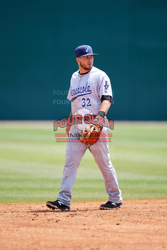 Pensacola Blue Wahoos shortstop Blake Trahan (32) during a game against the Mobile BayBears on April 26, 2017 at Hank Aaron Stadium in Mobile, Alabama.  Pensacola defeated Mobile 5-3.  (Mike Janes/Four Seam Images)