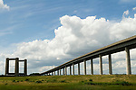 Isle of Sheppey Kent UK. The new flyover and the old bridge.