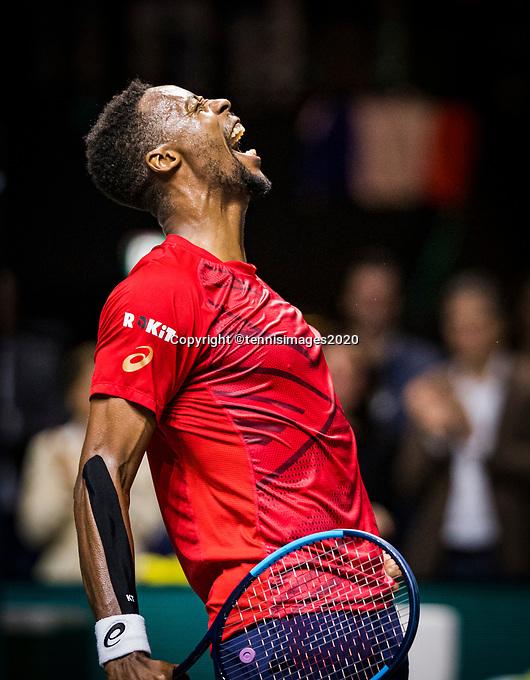 Rotterdam, The Netherlands, 15 Februari 2020, ABNAMRO World Tennis Tournament, Ahoy,<br /> Mens Single Final: Gaël Monfils (FRA) celebrates his win. <br /> Photo: www.tennisimages.com