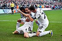 Saturday 19 October 2013 Pictured: Chico Flores celebrates his goal <br /> Re: Barclays Premier League Swansea City vSunderland at the Liberty Stadium, Swansea, Wales