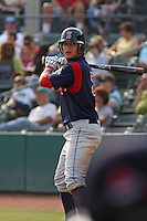 Shortstop Kris Negron of the Salem Red Sox on deck during a game against  the Myrtle Beach Pelicans on May 3, 2009