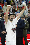 Real Madrid's Sergio Llull celebrates the victory in the Euroleague Final Match. May 15,2015. (ALTERPHOTOS/Acero)