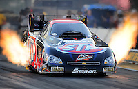 Jul, 8, 2011; Joliet, IL, USA: NHRA funny car driver Tony Pedregon during qualifying for the Route 66 Nationals at Route 66 Raceway. Mandatory Credit: Mark J. Rebilas-