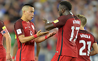Orlando, FL - Friday Oct. 06, 2017: Bobby Wood, Jozy Altidore during a 2018 FIFA World Cup Qualifier between the men's national teams of the United States (USA) and Panama (PAN) at Orlando City Stadium.