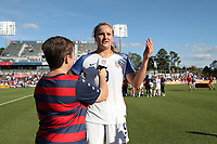 Cary, NC - Sunday October 22, 2017: Lindsey Horan after an International friendly match between the Women's National teams of the United States (USA) and South Korea (KOR) at Sahlen's Stadium at WakeMed Soccer Park. The U.S. won the game 6-0.