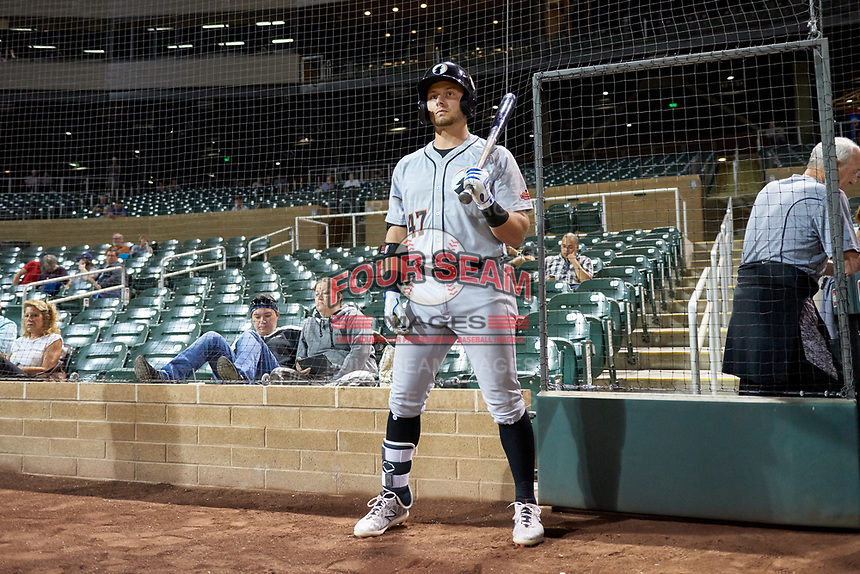Glendale Desert Dogs Michael Busch (47), of the Los Angeles Dodgers organization, on deck during an Arizona Fall League game against the Salt River Rafters on October 23, 2019 at Salt River Fields at Talking Stick in Scottsdale, Arizona. Glendale defeated Salt River 6-5. (Zachary Lucy/Four Seam Images)