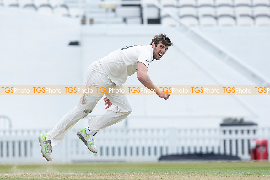 Jamie Overton, Surrey CCC follows through during Surrey CCC vs Hampshire CCC, LV Insurance County Championship Group 2 Cricket at the Kia Oval on 1st May 2021