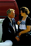 Lisdoonvarna County Clare Eire. 1990s.  Older couple chatting together.