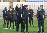 20190304 - LARNACA , CYPRUS :  Belgian team with assistant coach Kris Van Der Haegen (left) and teammanager Hubert De Neef pictured during the pitch recognition of a women's soccer game between Nigeria and the Belgian Red Flames , on Monday 4 th March 2019 at the GSZ Stadium in Larnaca , Cyprus . This is the third and last game in group C for both teams during the Cyprus Womens Cup 2019 , a prestigious women soccer tournament as a preparation on the Uefa Women's Euro 2021 qualification duels. PHOTO SPORTPIX.BE | DAVID CATRY
