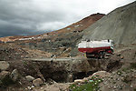Tanker truck dumping waste water into a river on the Cerro Rico of Potosí.
