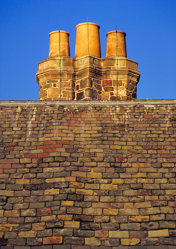 slate rooftop with tripple flute chimney