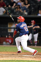 Memphis Redbirds designated hitter Oscar Taveras (15) hits a double during a game against the Oklahoma City RedHawks on May 23, 2014 at AutoZone Park in Memphis, Tennessee.  Oklahoma City defeated Memphis 12-10.  (Mike Janes/Four Seam Images)