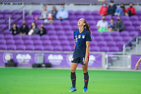 ORLANDO CITY, FL - FEBRUARY 21: Alex Morgan #13 of the USWNT reacting towards a missing a goal during a game between Brazil and USWNT at Exploria Stadium on February 21, 2021 in Orlando City, Florida.