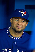 Toronto Blue Jays pitcher Luis Perez #47 before an American League game against the Boston Red Sox at Rogers Centre on June 3, 2012 in Toronto, Ontario.  (Mike Janes/Four Seam Images)