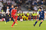 Raed Saleh of Oman (C) is challenged by Shibasaki Gaku of Japan (R) during the AFC Asian Cup UAE 2019 Group F match between Oman (OMA) and Japan (JPN) at Zayed Sports City Stadium on 13 January 2019 in Abu Dhabi, United Arab Emirates. Photo by Marcio Rodrigo Machado / Power Sport Images