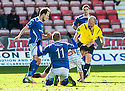 Stranraer's Grant Gallagher clashed with Pars' Finn Graham right in front of Referee Mat Northcroft  after Graham's late challenge on Stranraer's Willie Gibson.