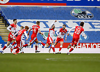 13th February 2021; Madejski Stadium, Reading, Berkshire, England; English Football League Championship Football, Reading versus Millwall; Mason Bennett of Millwall celebrates with his team mates after scoring his sides 2nd goal in the  85th minute to make it 2-1