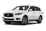 Stock pictures of low aggressive front three quarter view of 2020 Infiniti QX60 Pure 5 Door SUV Low Aggressive