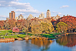 View over the Turtle Pond in Central Park, New York City, in the fall