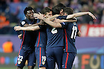 Atletico de Madrid's Thomas Partey, Lucas Hernandez, Diego Godin and Saul Niguez celebrate the victory in the Champions League 2015/2016 Quarter-Finals. April 13,2016. (ALTERPHOTOS/Acero)